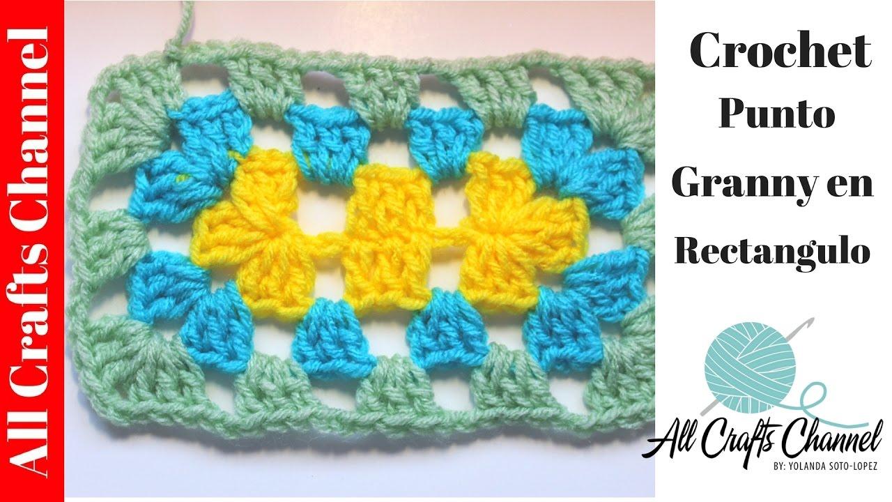 Como tejer un rectangulo en crochet - punto Granny - YouTube