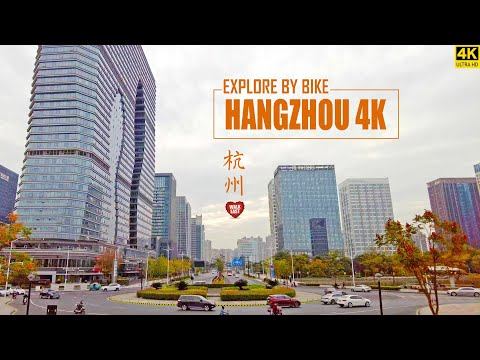 Hangzhou Bike Tour | The Downtown Morning Street View | 4K | Zhejiang Province | 杭州 | 钱江龙