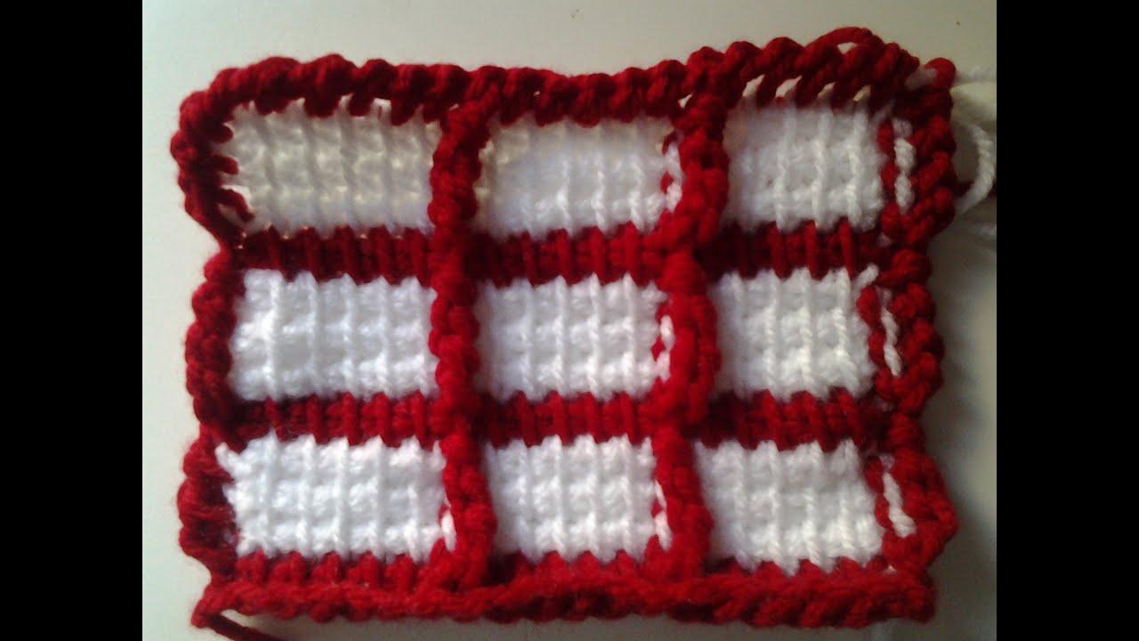 Crochet (ganchillo) tunecino punto cuadros #patron - YouTube