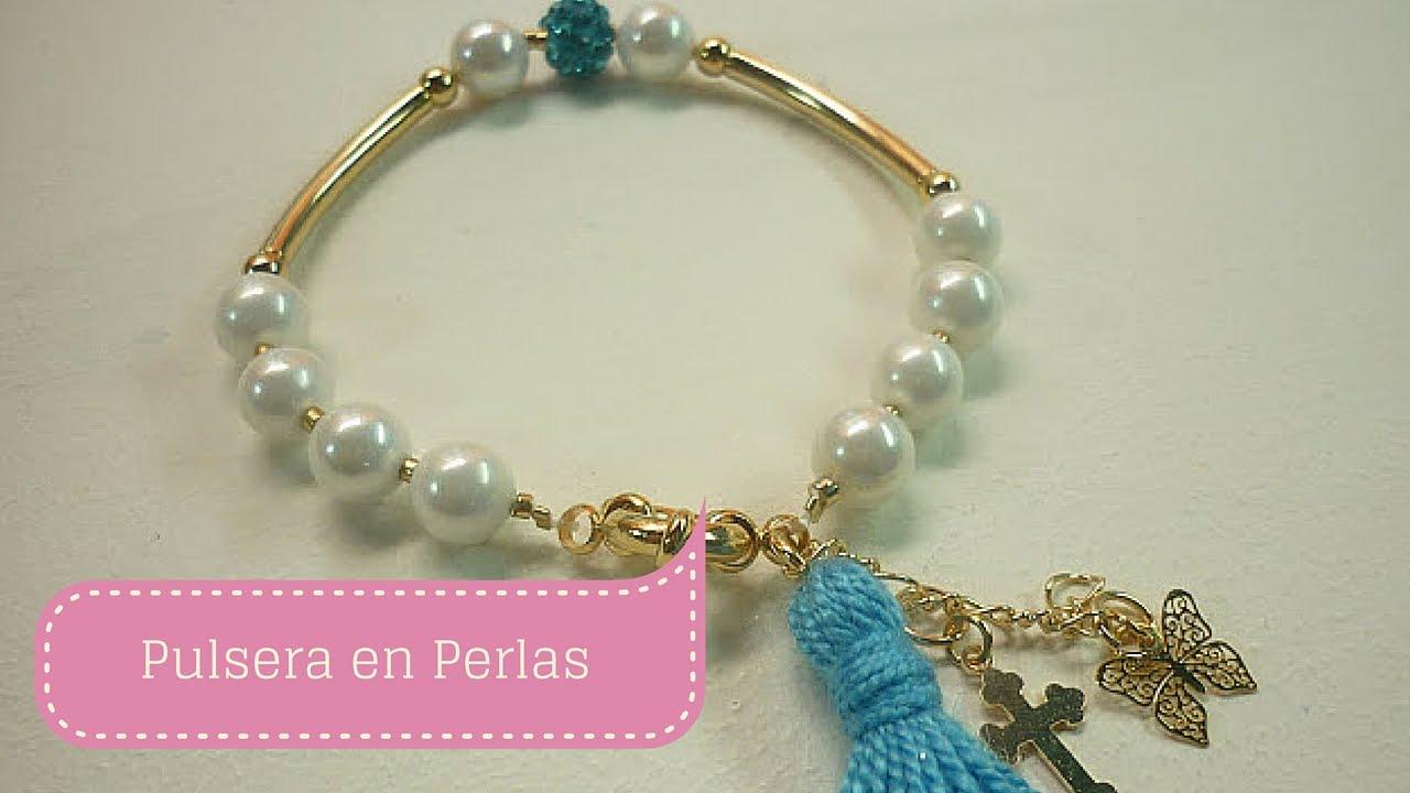 2b2c11ddeca6 Manualidades  PULSERA con perlas fácil Bisutería DIY ♥ Sor Amparo Arredondo  R. - YouTube