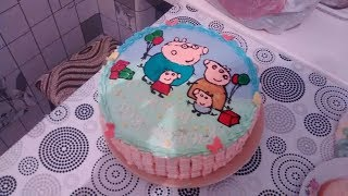 Украшение торта на три года,Свинка Пепа,Торт разукрашка