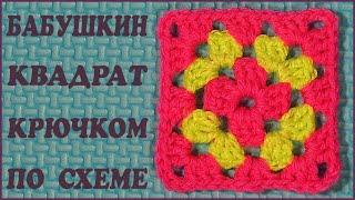 Бабушкин квадрат крючком. Бабушкин квадрат по схеме. Квадрат крючком. (Crochet square)