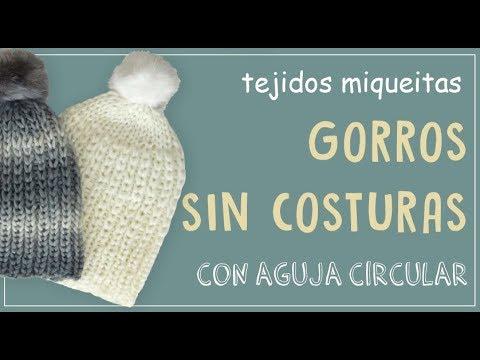 Cómo tejer gorros sin costuras en aguja circular - YouTube 279308a170f