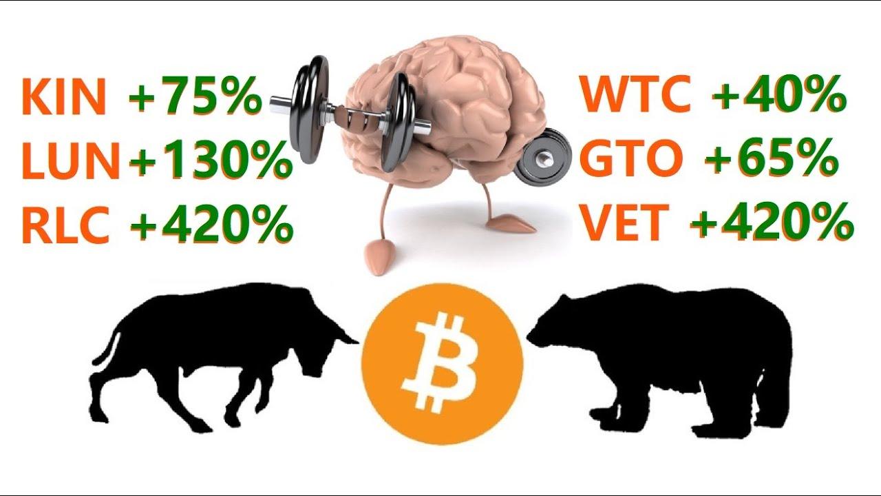 Работа на альткоинах RLC +144% LUN +130% WTC +41% KIN +74% GTO +28%