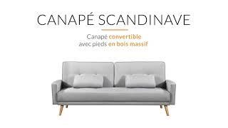 Vidéo: 3SCZF - Canapé droit 3 places scandinave convertible en tissu