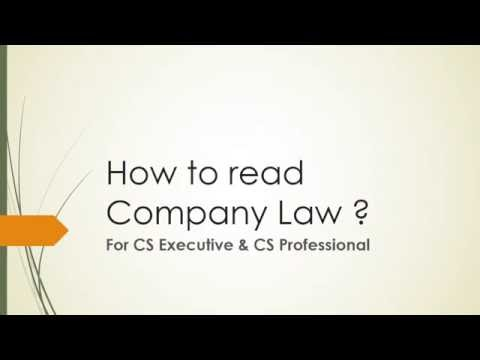 How to read Company Law ? (self explanatory)