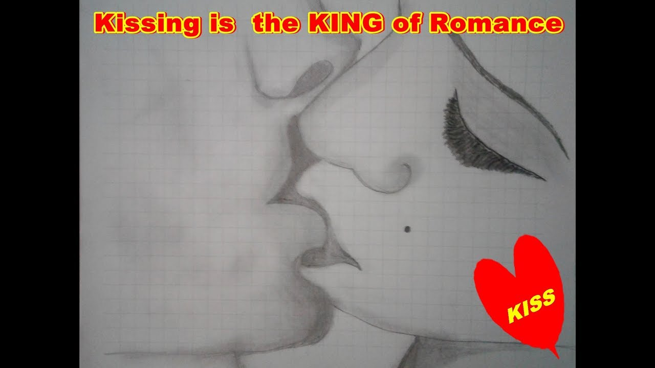Romantic couple kissing sketch by pencil