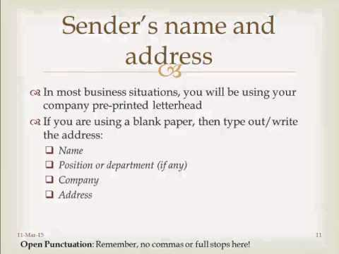 Format of Business Letters (COM1110 English Communication Skills