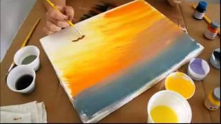 Pintura em tela por do sol