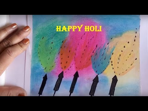 Holi Painting Festival Of Colours Free Art Lesson | DIY Holi Card For Kids