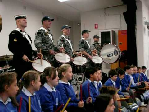 Australian Navy Band performs Waltzing Matilda with Matraville schoolchildren