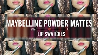 Maybelline The Powder Mattes Lipsticks Lip Swatches on Medium Tan Indian Skin DaintyDashBeauty