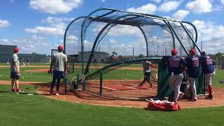 Esteban Quiroz, who Red Sox signed out of Mexican League, takes BP at JetBlue Park