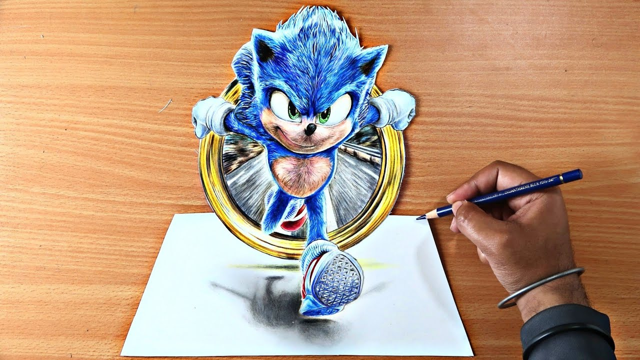 How To Draw Sonic 3d Drawing Sonic The Hedgehog Movie 2020 Youtube