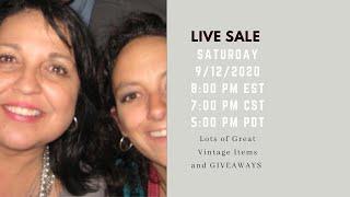 Live Sale - Saturday 9/12/2020…