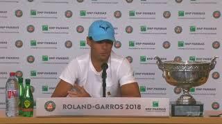 Rafael Nadal Press conference after his victory at Roland Garros 2018