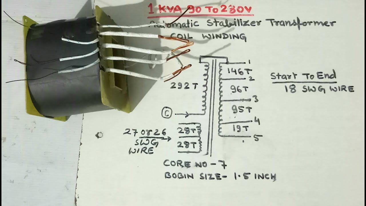 medium resolution of 1kva 90v to 280v automatic stabilizer transformer coil winding yt 58