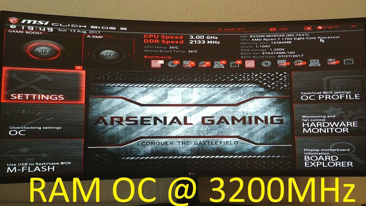 Ryzen RAM OC auf 3200MHz guide MSI Board (es müssen keine Samsung B Chips  sein)