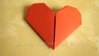 Herz Falten - Anleitung für Origami Herz - Geschenkideen basteln mit Papier - DIY Muttertag -  ❤