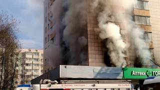Fire burning apartment in Russia