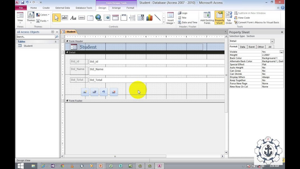 Working with form and command buttons in ms access 2010