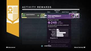 Destiny PS4 Legendary   The Supremacy sniper Gift from Queens mission