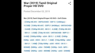 War tamil dubbed full movie download | Tamil download link | TamilRockers