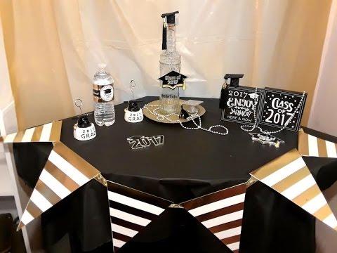 decoracion para graduacion centro de mesa idea sencilla en color negro y dorado youtube. Black Bedroom Furniture Sets. Home Design Ideas