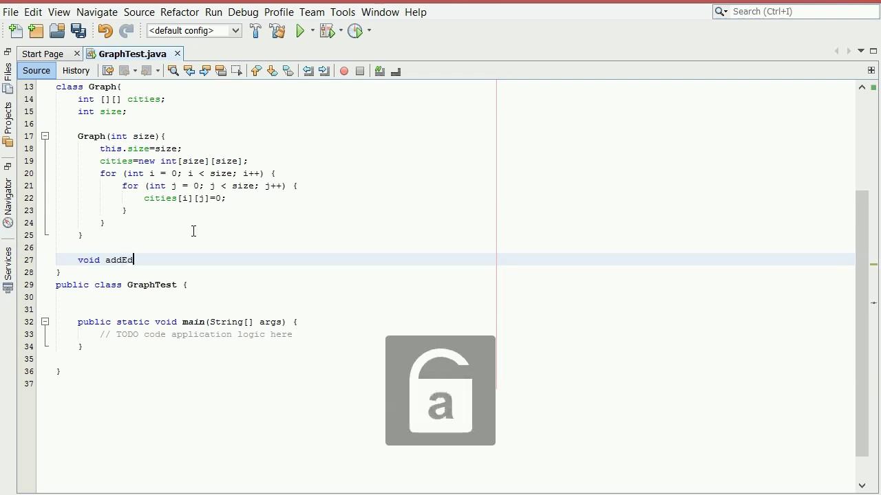 Adjency Matrix implementation of Graph in Java (Bahasa