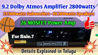 9.2 Dolby Digital Amplifier | 2800watts Power | Optical, Coaxial input | HD Master Audio