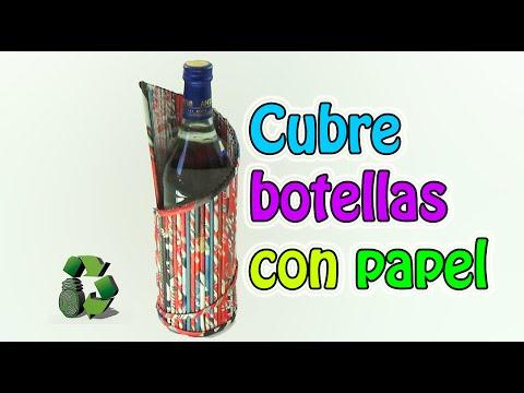 169 manualidades cubre botellas con tubitos de papel - Manualidades con papel periodico ...
