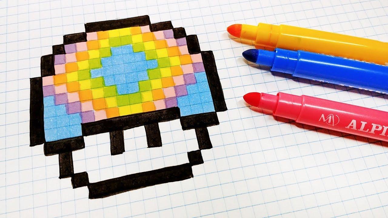 Handmade Pixel Art How To Draw Rainbow Mushroom Pixelart