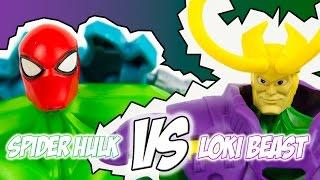 Marvel Avengers Super Hero Mashers Spider Hulk Vs Loki Beast
