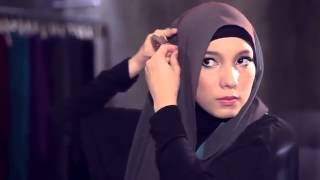 Hijab Tutorial,Green-Purple Two Tone Shawl Hijab