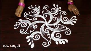 beautiful rangoli kolam with 5 dots *  easy rangavalli designs * latest muggulu 2018
