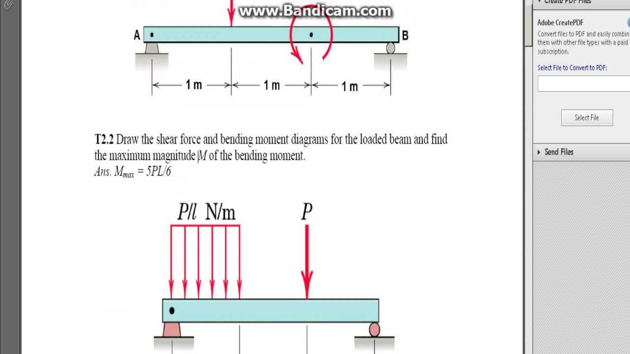 Shear And Bending In Beams With Unknown Values Worked Through Beam Diagrams Problem T22 Part 1 Of 3
