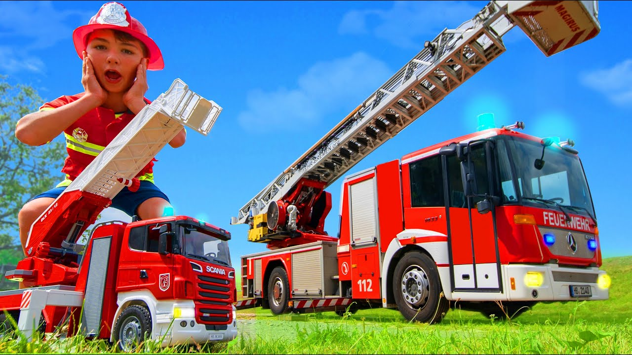 Fire Truck, Tractor & Excavator Pretend Play Stories with Toys for Kids