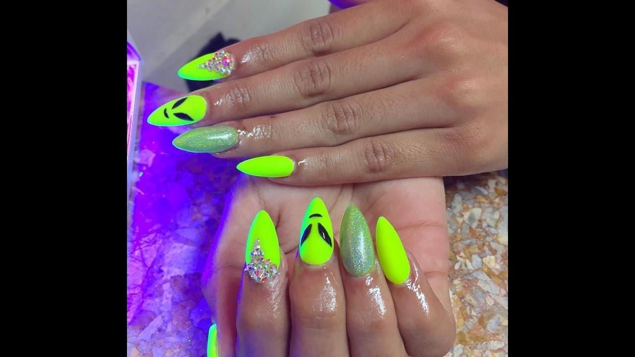Neon Nails - Bright Neon Summer Nail Art - YouTube