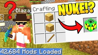 *TROLLING* BLAZA on Largest Minecraft Modpack but EVERY crafting recipe is RANDOM