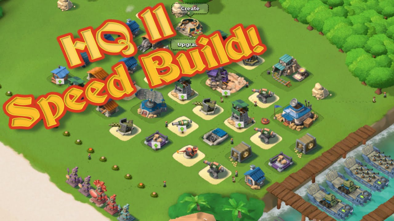 boom beach - best headquarters 11 (hq 11) base design! - speed