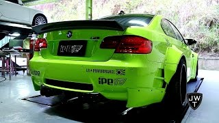 Loud modified bmw m3 e92 liberty walk w/ ipe exhaust revving! sound!