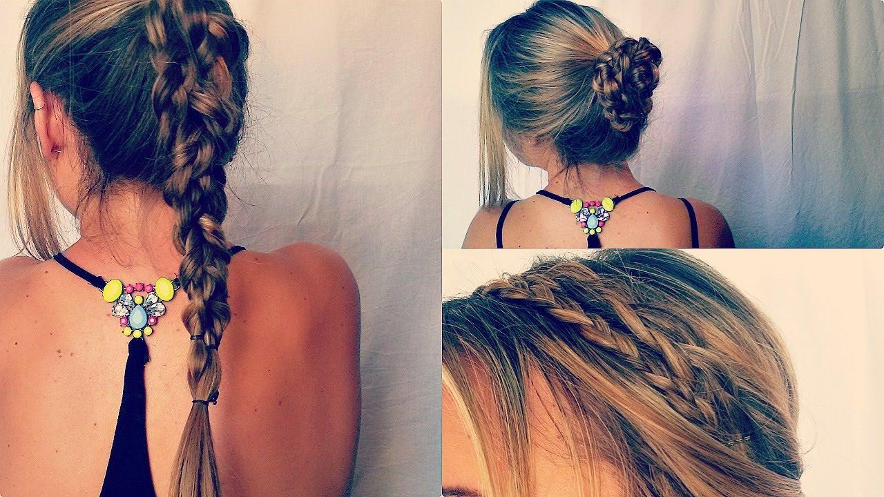 4 peinados sencillos rapidos y bonitos con trenzas youtube - Peinados Chulos