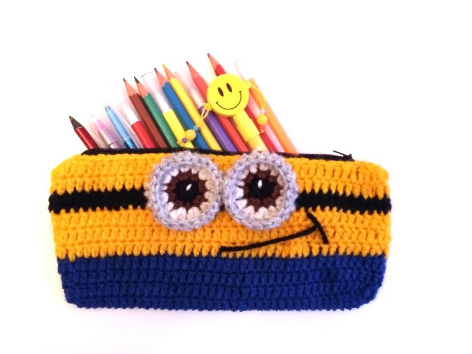Örgü Kalemlik Yapımı - Crochet Minion Pencil Case - YouTube