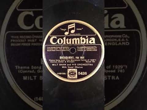 "Disque Columbia ""Breakaway"" Musique du film ""fox movietone follies""(fox trot) 1929"