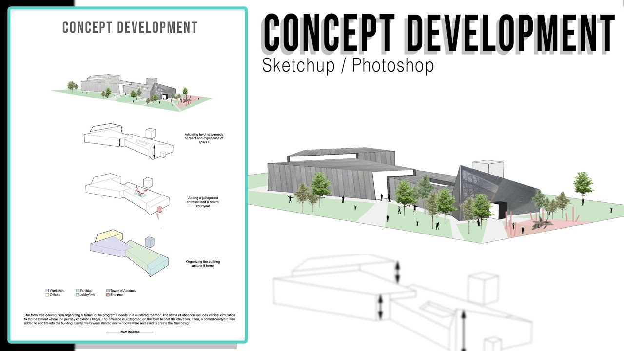 Concept Diagram Architecture in Sketchup Photoshop  YouTube