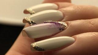 Наращивание гелем под гель лак💜Топ - идеальные блики💜Дизайн ногтей сирень и серебряные хлопья юки