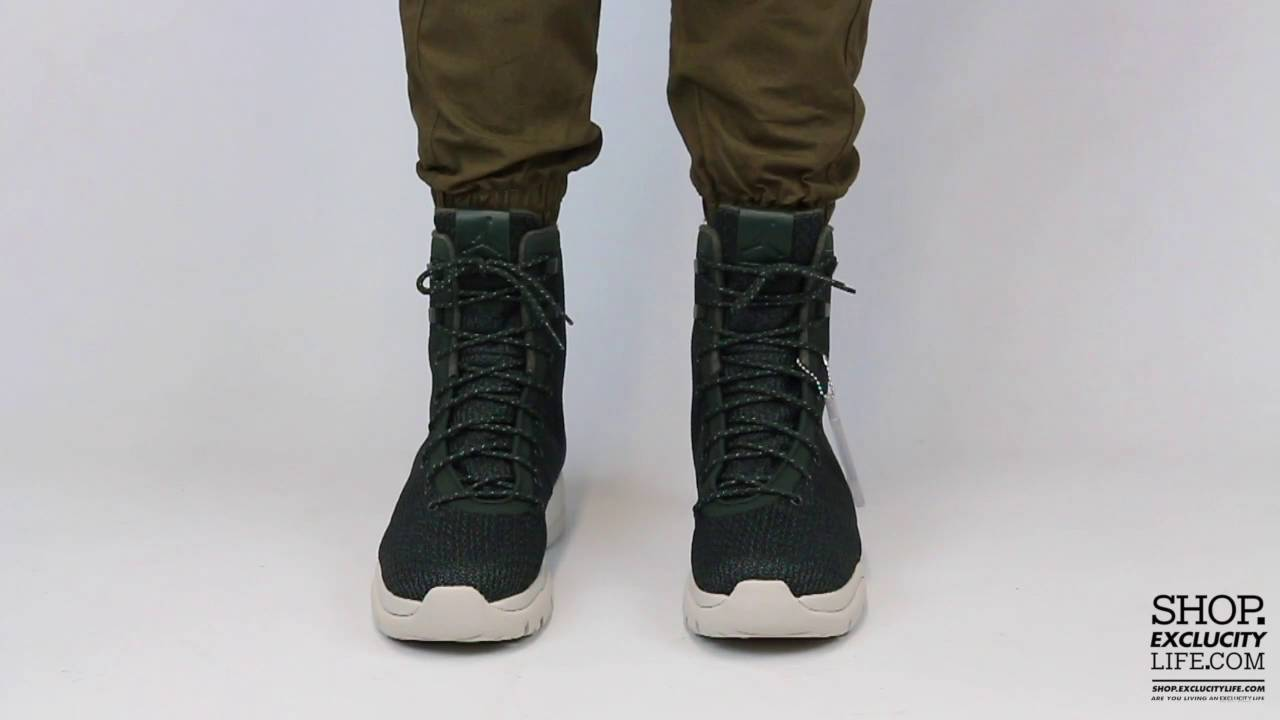 bfdf9a9d77c440 Jordan Future Boot Grove Green On feet Video at Exclucity - YouTube