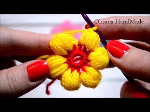 Как связать цветок из пышных столбиков крючком