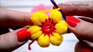 Маленький пышный цветок крючком. Мастер класс.Flower crochet