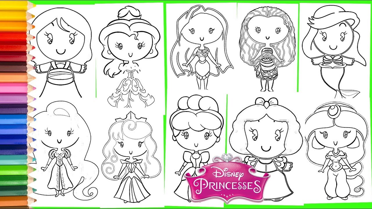 - ALL Disney Princess Cuties COMPILATION - Coloring Pages For Kids